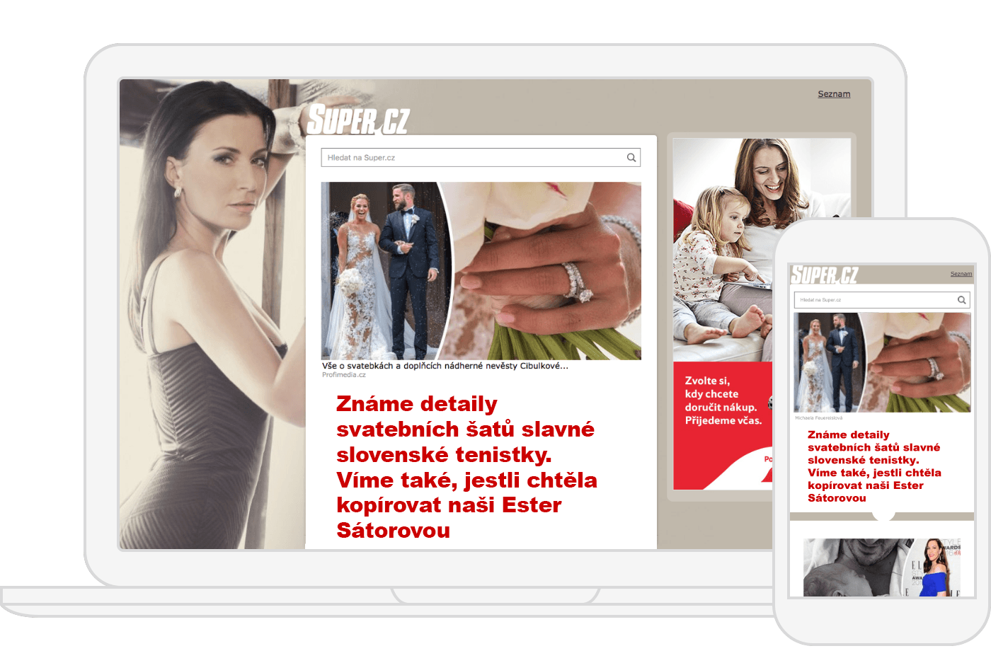Example of an ad on Super.cz's homepage