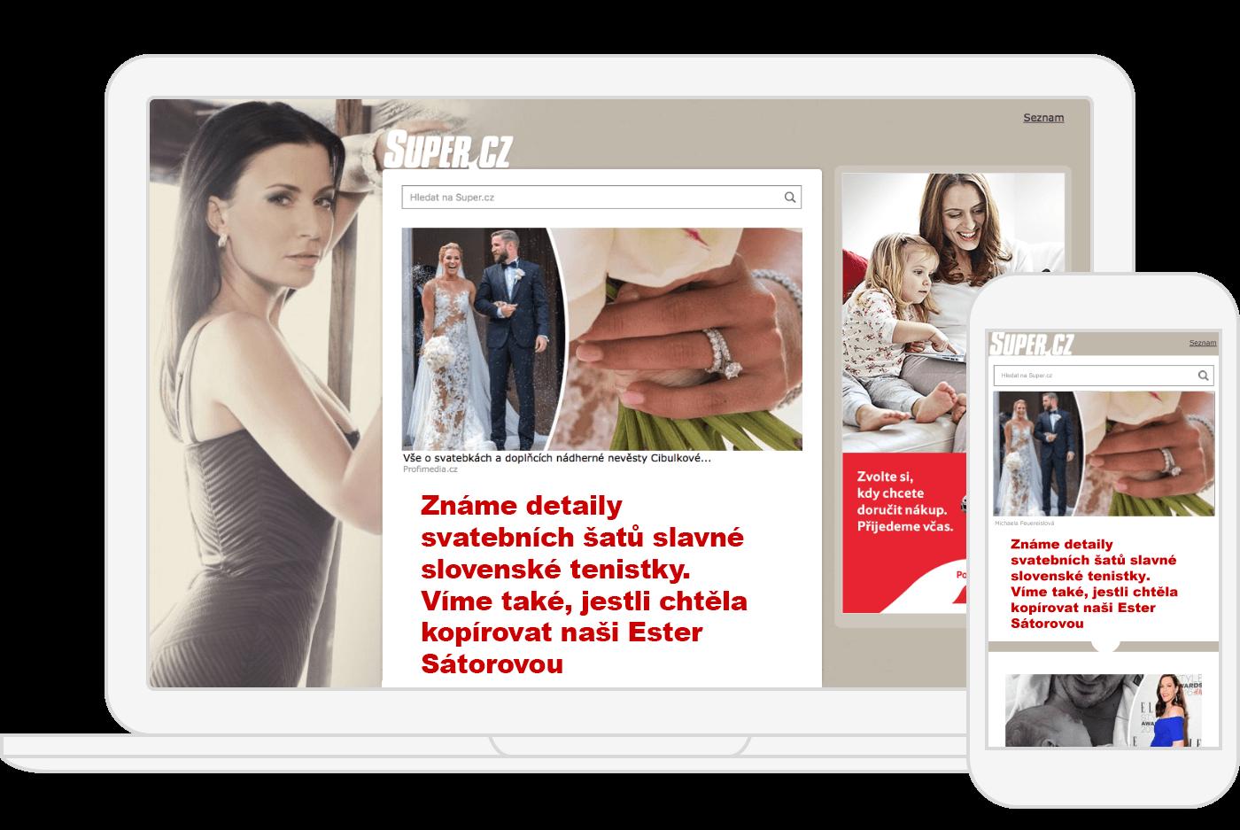 Ukázka reklamy na úvodní stránce super.cz
