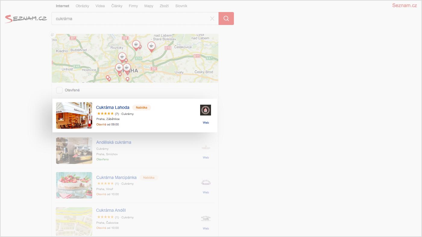 Obrazek: Snippet ad in the Seznam.cz search results