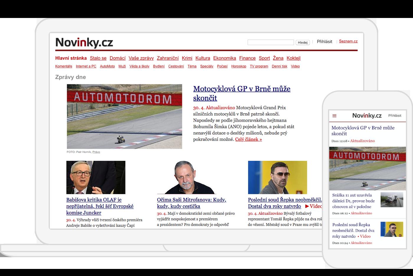 Ukázka úvodní stránky Novinky.cz.